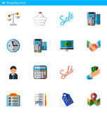 Set of 16 shopping vector flat icons in material style Royalty Free Stock Images