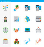 Set of 16 shopping vector flat icons in material style Stock Images