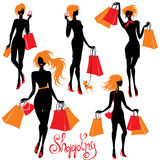 Set of Shopping woman silhouettes  isolated on whi Stock Images