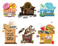 Set of shops. A collection of small cartoon shops with a sign. Stylized trade counters. Vector illustration. Royalty Free Stock Photography