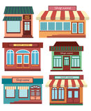 Set of shops. A collection of small cartoon shops with a sign. Stylized trade counters. Vector illustration. Stock Photo