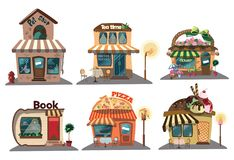Set of shops. A collection of small cartoon shops with a sign. Stylized trade counters. Vector illustration. Stock Photos