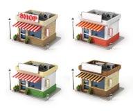 Set of shops. Royalty Free Stock Photo