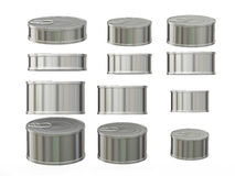 Set of short cylindrical aluminum  tin cans in various sizes, cl Stock Photo
