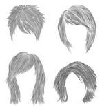Set short and Medium woman hairs  . black  pencil  drawing sketch . women fashion beauty style.    cascade Disheveled. Set short and Medium woman hairs  . black Stock Photo