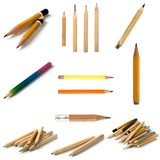 Set of Short Pencils on Isolated Background stock images