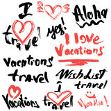 Set of short phrases - hand written text VACATIONS. I love travel, etc. Abstract background for travel, summer, vacations design Stock Photos