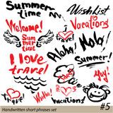 Set of short phrases - hand written text VACATIONS Royalty Free Stock Photography