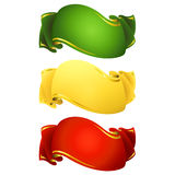 Set of 3 short ribbon banners Royalty Free Stock Images