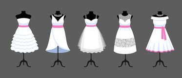 A set of short white dresses with pink ribbons. Collection of mannequins dressed in wedding clothes. Vector cartoon illustration for shop, boutique, fashion royalty free illustration