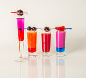 Set shot drinks, drinks decorated with fruit, strawberry, redber Royalty Free Stock Images