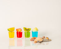 Set shot drinks, yellow, red, green and blue kamikaze drinks dec Royalty Free Stock Photography