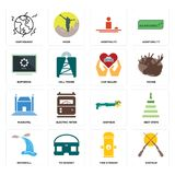 Set of shotgun, fire hydrant, waterfall, municipal, car dealer, buffering, hospitality, earthquake icons. Set Of 16 simple  icons such as shotgun, fire hydrant Stock Image