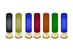 Set of Shotgun Shells on White Background. Gun Accessory, An Illustration Collection of Shotgun Shells in An Assortment of Colors Isolated on White Background stock illustration