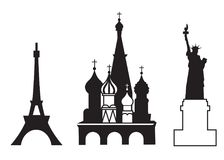 Set of showplace icons. Mobile app, printing, web site icon. Simple elements. Monochrome Statue of Liberty, Red Square and Eiffel Royalty Free Stock Image
