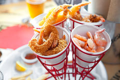 Set of shrimps, boiled, grilled, fried Stock Photo