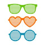 Set shutter glasses. Brindled or latticed sunglasses, summer youth glasses. Shutter shades sun glasses collection Stock Photos