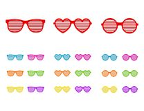 Set shutter glasses. Brindled or latticed sunglasses, summer youth glasses. Shutter shades sun glasses collection Royalty Free Stock Photos