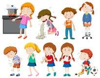 Set of sick and injured children vector illustration
