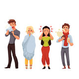 Set of sick people cartoon style vector illustration Stock Images