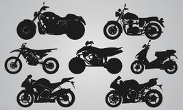 Set of 7 side different bikes projection Royalty Free Stock Image
