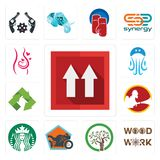 Set of this side up, woodwork, olive tree, motorcycle shop, starbucks, , recycle, jellyfish, pregnancy icons. Set Of 13 simple  icons such as this side up Stock Image