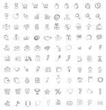 Set 140 sieć, finanse i biznesu ikony. Ręka rysująca  Obraz Stock