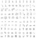 Set 140 sieć, finanse i biznesu ikony. Ręka rysująca  Zdjęcia Royalty Free