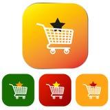 Set sieć zakupy ikony lub guziki Fotografia Royalty Free