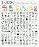 Set 140 sieć, finanse i biznesu ikony. Zdjęcia Royalty Free