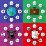 Set sieci i biznesu pojęcia Płaski projekt Fotografia Royalty Free