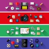 Set sieci i biznesu pojęcia Płaski projekt Zdjęcia Royalty Free