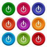 Set sieci władza zapina, kolorowi round guziki wektor ilustracja wektor