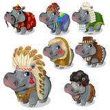 Set siedem hipopotamów w różnych krajowych kostiumach ilustracja wektor