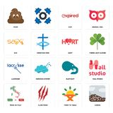Set of sierra, farm to table, made in italy, elephant, lacrosse, hart, sax, expi, poop icons. Set Of 16 simple  icons such as sierra, farm to table, claw mark Royalty Free Stock Photo