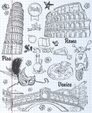 Set of sights in Italy, architecture, food, transportation, items. black contour Royalty Free Stock Photography