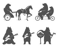 Set sign bear. Vector Illustration Bear on a tandem bike, guitar and camp on a white background. Bear Symbol for T-shirts print, labels, badges, stickers and Vector Illustration