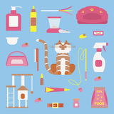Set of sign cat accessories. Vector pet supplies. Animal equipment care grooming tools and food, domestic feline Royalty Free Stock Photo