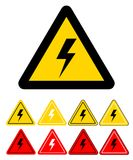 Set of sign of danger high voltage electricity symbol on white,. Stock vector illustration Stock Images