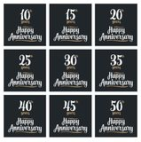 Set sign for happy anniversary. Set sign for anniversary. Vector illustration isolated on black background Stock Photography