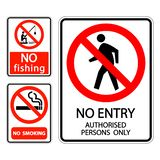 symbol set sign label No smoking,no fishing,no entry authorised persons only vector illustration