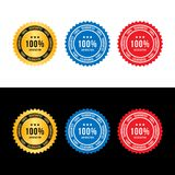 Set sign 100 percent satisfaction guarantee. Flat vector illustration EPS 10.  Royalty Free Illustration