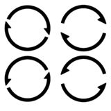 Set sign reload refresh icon, spinning arrows in a circle, vector symbol sync, renewable crypto currency, renew vector_02. Set sign reload refresh icon, spinning royalty free illustration