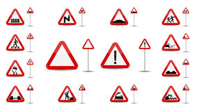 Set of Sign Warning. In Red Triangle is a sketchy different types of special signs for car drivers. Vector Illustration. Stock Images