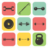 Set of sign weights for fitness or gym icons Royalty Free Stock Photo