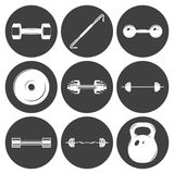 Set of sign weights for fitness or gym icons Stock Image