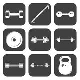 Set of sign weights for fitness or gym icons Stock Photography