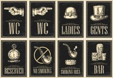 Set signboard. Pointing finger. Toilet grunge poster for ladies, cents. Set signboard. Pointing finger. Toilet retro vintage grunge poster for ladies, cents Stock Photos