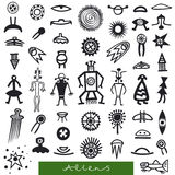 Set of signs aliens Royalty Free Stock Images