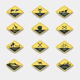 Set of signs of attention, caution and danger Royalty Free Stock Photography